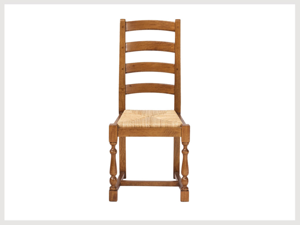 Country style ladder back chair with rush seat fruitwood finish (B35)