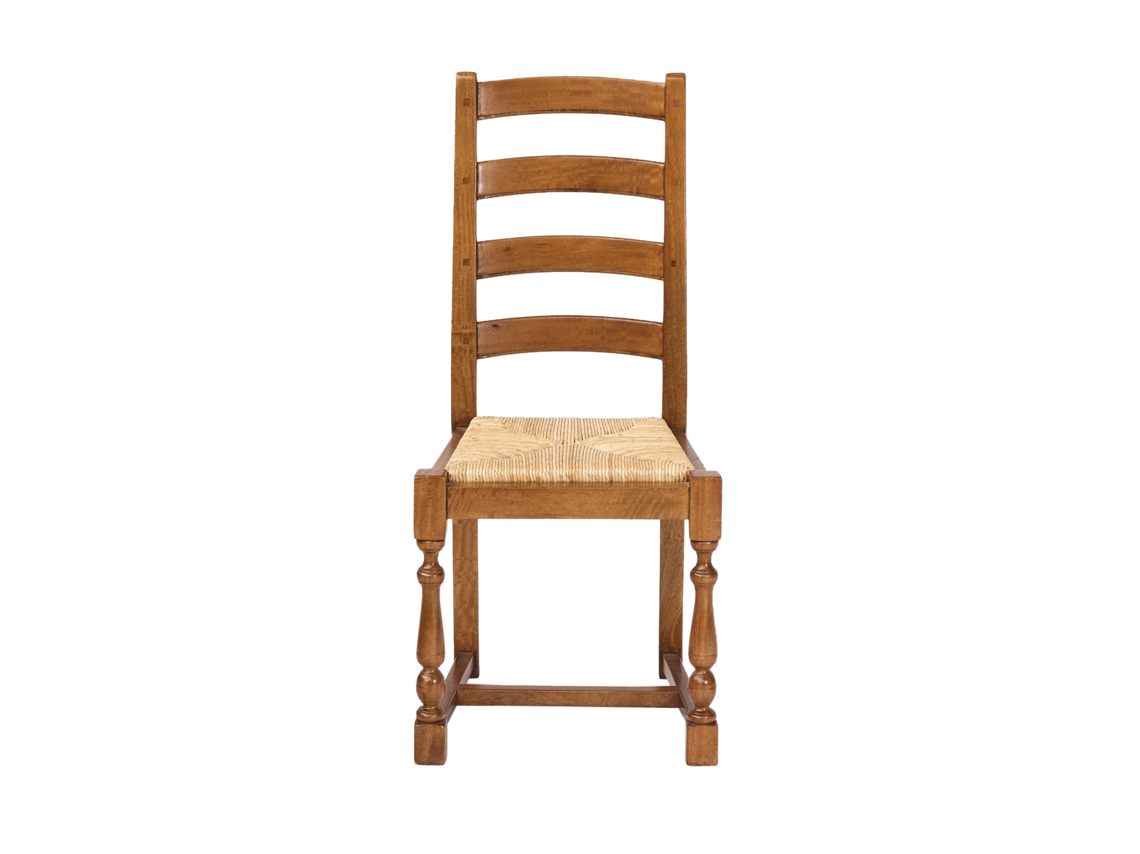 Country Style Ladder Back Chair With Rush Seat Fruitwood