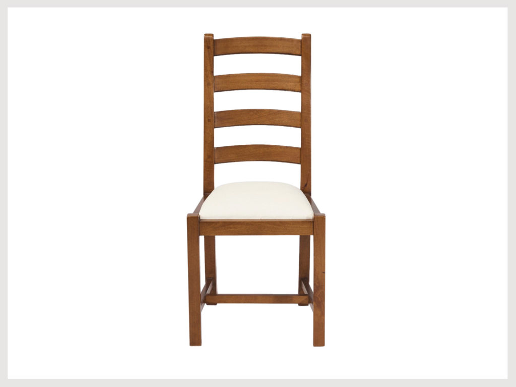 Country style ladder back chair with upholstered seat fruitwood finish  (B36)