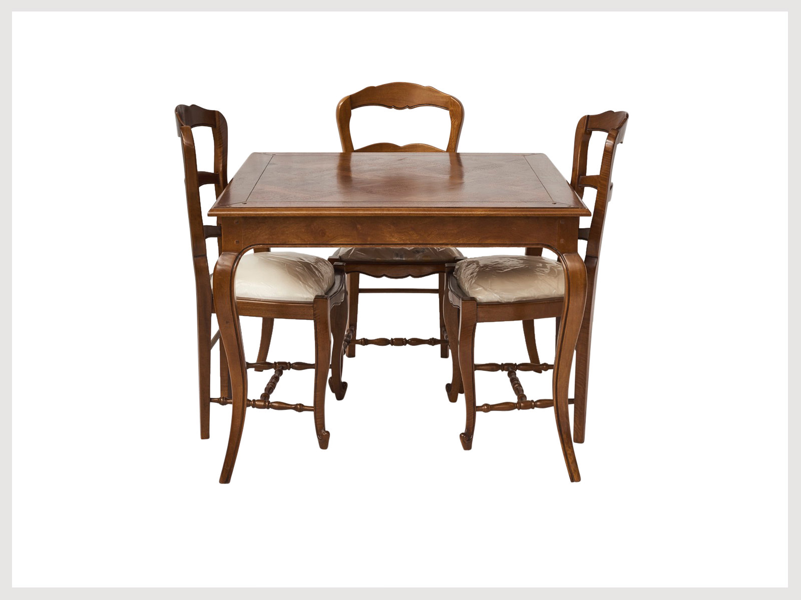 French Provincial Style 4 Seater Square Dining Table In