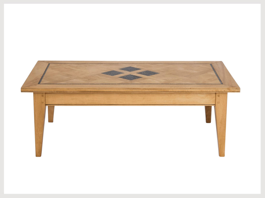 Contemporary provincial style coffee table in stone washed finish with granite inlays  (LABS26)
