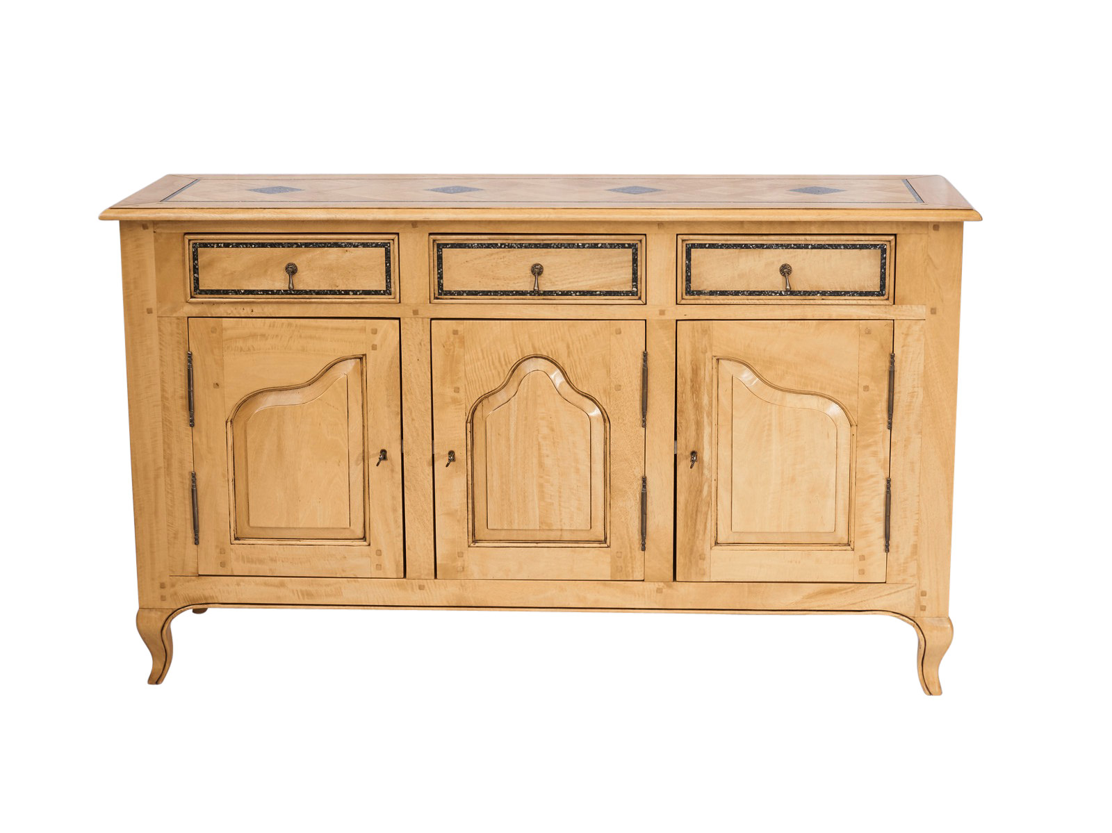 french provincial style buffet  stone washed finish  granite inlays lbs french