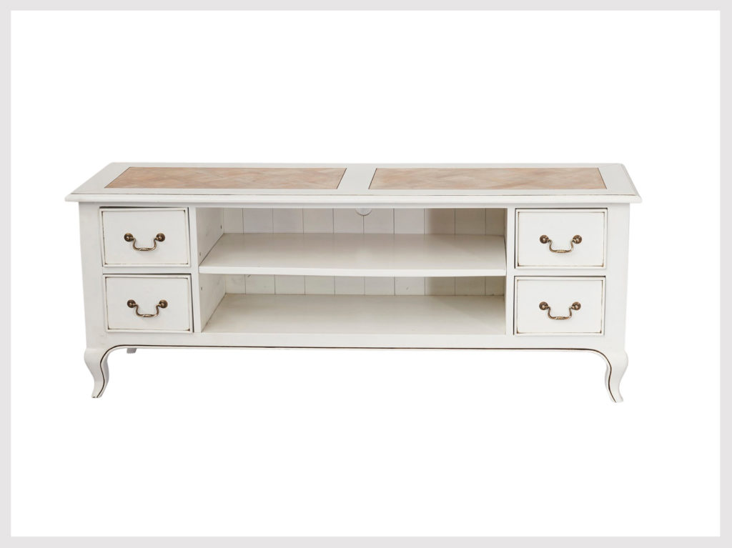 Contemporary white TV/Cabinet unit in French provincial style  (LW14)      Available in other finishes